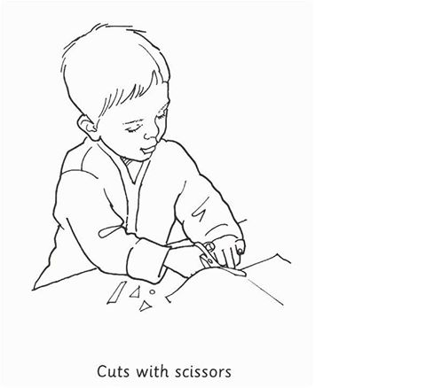 At what age child can cut with scissors?